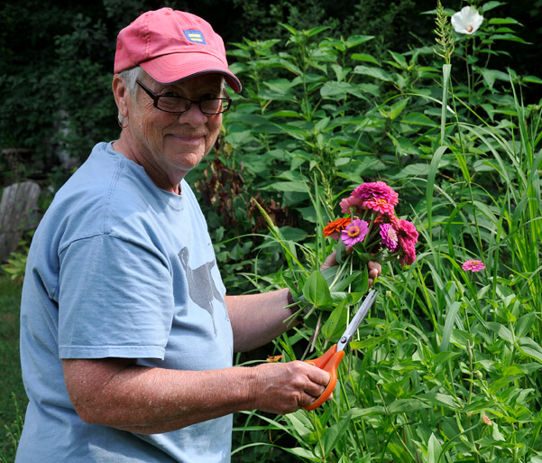 pat with zinnias